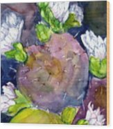 Cactus And Flowers Wood Print