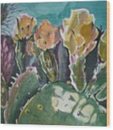 Cactus Blossoms In Desert Wood Print