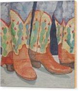 Cactus Boots Wood Print