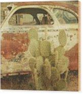 Cactus Car Wood Print