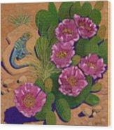 Cactus Flower Lizard Wood Print