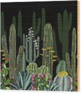 Cactus Garden At Night Wood Print