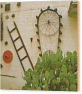 Cactus Wood Print by Sheep McTavish