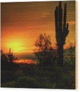 Cactus Sunrise Wood Print