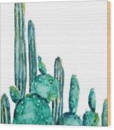 Cactus Watercolor 1 Wood Print