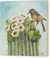 Cactus Wren And Saguaro Wood Print