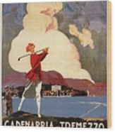 Cadenabbia Tremezzo, Golf And Tennis - Golf Club - Retro Travel Poster - Vintage Poster Wood Print