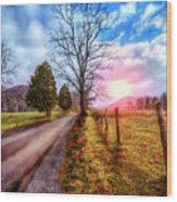 Cades Country Lane Wood Print