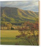 Cades Cove Autumn Sunset In Great Smoky Mountains Wood Print