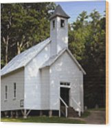 Cades Cove Baptist Church Wood Print