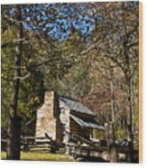 Cades Cove Early Settler Cabin  Wood Print