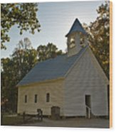 Cades Cove Methodist Church Aglow Wood Print