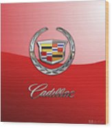 Cadillac - 3 D Badge On Red Wood Print