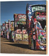 Cadillac Ranch Wood Print by Lana Trussell