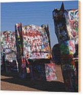 Cadillac Ranch On Route 66 Wood Print
