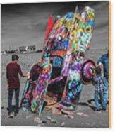Cadillac Ranch Spray Paint Fun Along Historic Route 66 By Amarillo Texas Wood Print