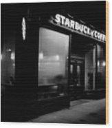 Cafe At Night  Wood Print