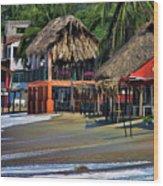 Cafe Beach Bucerias Mexico Wood Print