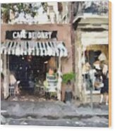 Cafe Beignet Summer Day Wood Print