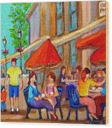 Cafe Casa Grecque Prince Arthur Wood Print