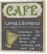 Cafe Chalkboard Wood Print