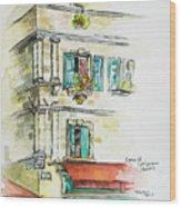 Cafe In Arles Wood Print
