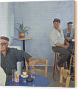 Cafe In Greece Wood Print