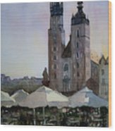 Cafe In Main Square Krakow Wood Print