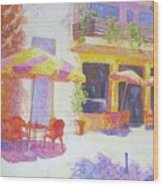 Cafe In Spain Wood Print