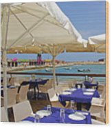 Cafe In White And Purple Wood Print