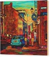 Cafe Le Vieux Port Wood Print