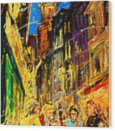 Cafe Of Amsterdam At Night  Wood Print