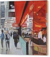 Cafe On Broadway Wood Print