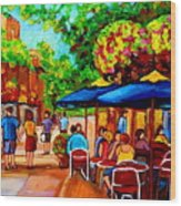 Cafe On Prince Arthur  In Montreal  Wood Print