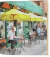 Cafe Pizzaria Wood Print