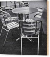 Cafe Seating Wood Print