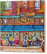 Cafe Second Cup Terrace Wood Print