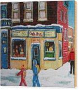 Cafe St. Viateur Montreal Wood Print