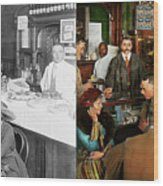 Cafe - Temptations 1915 - Side By Side Wood Print