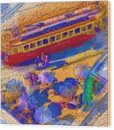 Cafe Tram Scenee Wood Print