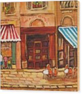 Cafe Vieux Montreal Wood Print
