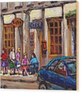 Outdoor Cafe Painting Vieux Montreal City Scenes Best Original Old Montreal Quebec Art Wood Print