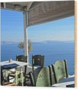 Cafe' With A View Wood Print