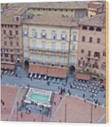 Cafes Of Il Campo In Siena Italy Wood Print