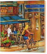 Cafes With Blue Awnings Wood Print