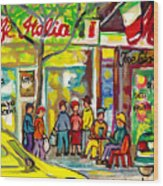 Caffe Italia And Milano Charcuterie Montreal Watercolor Streetscenes Little Italy Paintings Cspandau Wood Print