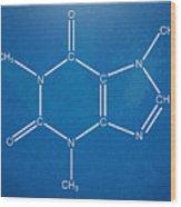 Caffeine Molecular Structure Blueprint Wood Print