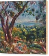 Cagnes Landscape With Woman And Child 1910 Wood Print