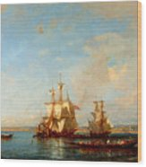 Caiques And Sailboats At The Bosphorus Wood Print