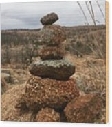 Cairn On The Mountain Wood Print
